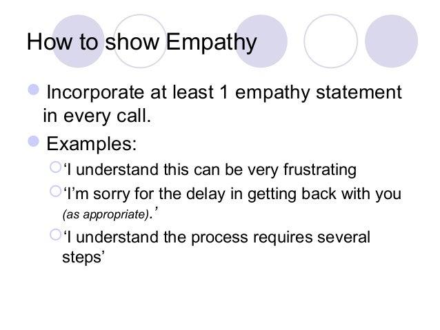 empathy statements for customer service representatives