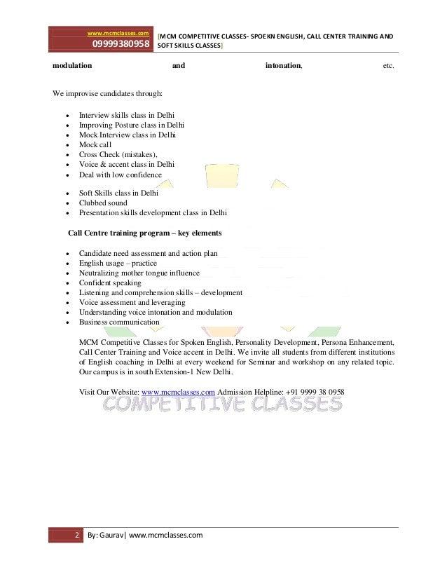www.mcmclasses.com 09999380958 MCM COMPETITIVE CLASSES- SPOEKN ENGLISH, CALL CENTER TRAINING AND[ SOFT SKILLS CLASSES] 2 B...