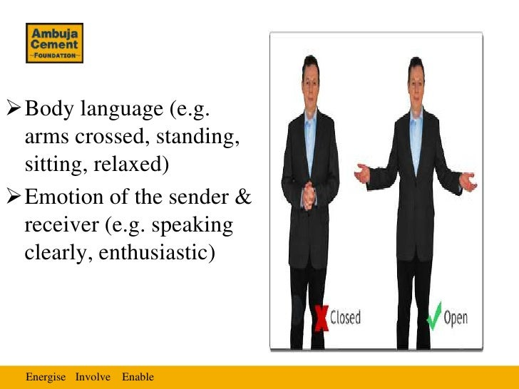 Body language (e.g. arms crossed, standing, sitting, relaxed)Emotion of the sender & receiver (e.g. speaking clearly, en...