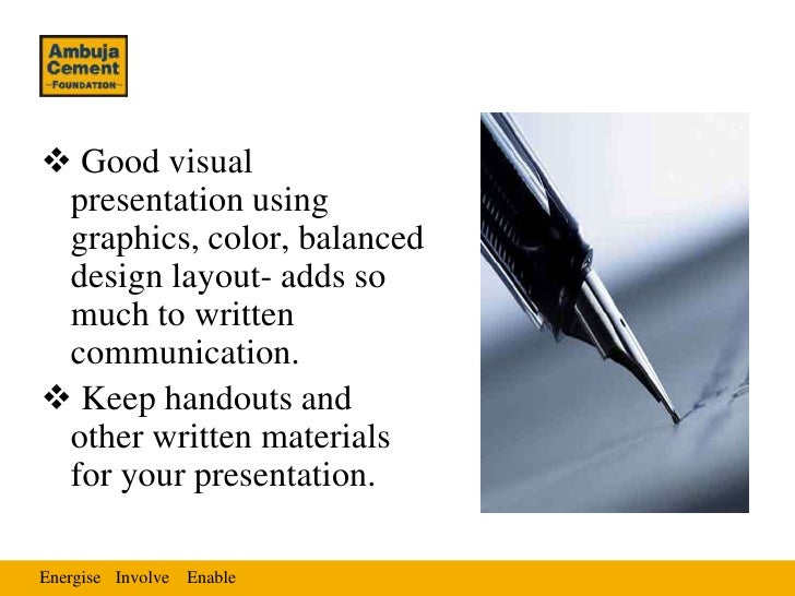  Good visual presentation using graphics, color, balanced design layout- adds so much to written communication. Keep han...
