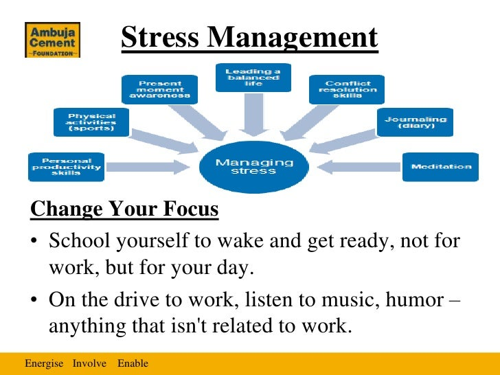 Stress ManagementChange Your Focus• School yourself to wake and get ready, not for  work, but for your day.• On the drive ...