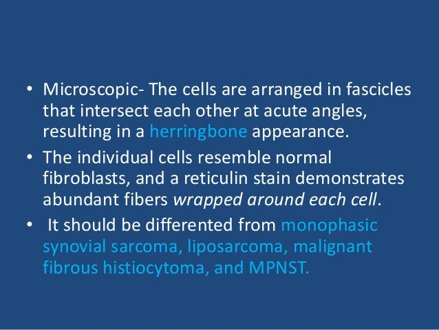 • Immunohistochemically the prototypical fibrosarcoma should have reactivity for vimentin and type I collagen but not for ...
