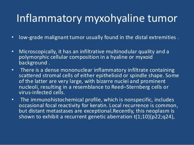 Inflammatory MFH • The neoplastic cells are mixed with, and even obscured by, an intense inflammatory infiltrate rich in n...