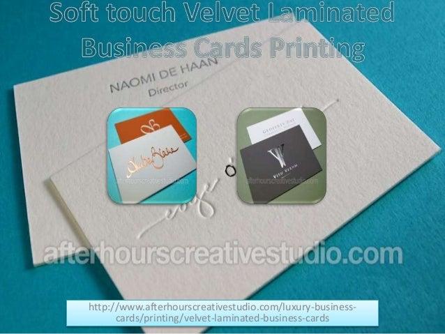 Soft touch velvet laminated business cards printing httpafterhourscreativestudioluxury business cards colourmoves