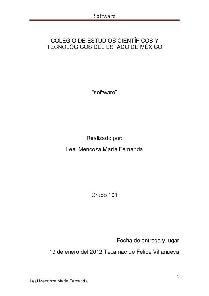 """Software        COLEGIO DE ESTUDIOS CIENTÍFICOS Y       TECNOLÓGICOS DEL ESTADO DE MÉXICO                              """"so..."""