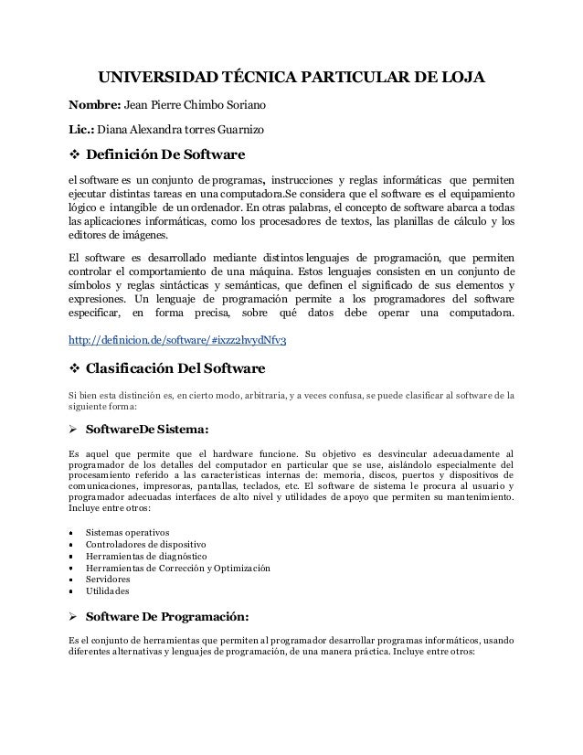 UNIVERSIDAD TÉCNICA PARTICULAR DE LOJA Nombre: Jean Pierre Chimbo Soriano Lic.: Diana Alexandra torres Guarnizo   Definic...
