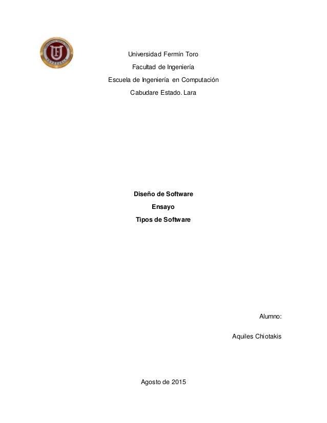 Universidad Fermín Toro Facultad de Ingeniería Escuela de Ingeniería en Computación Cabudare Estado. Lara Diseño de Softwa...
