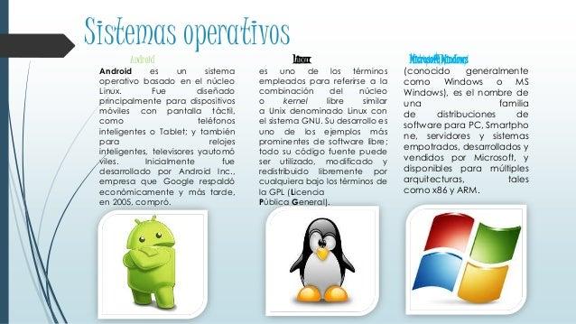 Sistemas operativos Android Android es un sistema operativo basado en el núcleo Linux. Fue diseñado principalmente para di...
