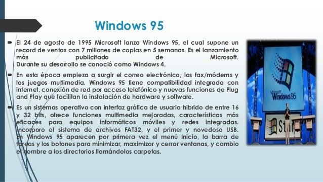 Windows 98  Fue presentado el 25 de junio de 1998, Windows 98 (con nombre en clave Memphis) es la primera versión de Wind...