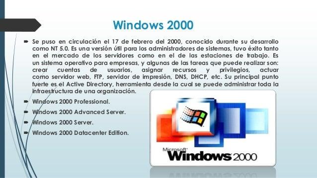Windows ME  Fue lanzado el 14 de septiembre del 2000. Es un sistema operativo grafico hibrido de 16/32 bits. Es el suceso...