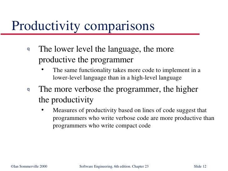 <ul><li>The lower level the language, the more  productive the programmer </li></ul><ul><ul><li>The same functionality tak...