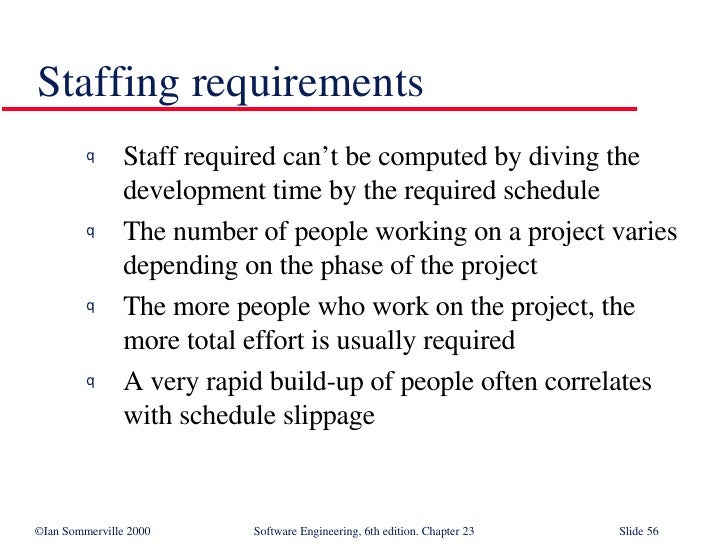 Staffing requirements <ul><li>Staff required can't be computed by diving the development time by the required schedule </l...