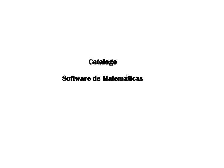 Catalogo Software de Matemáticas