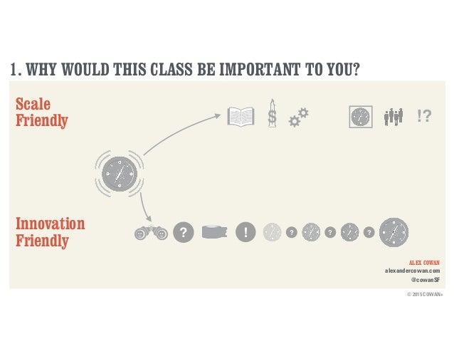 © 2015 COWAN+ ALEX COWAN alexandercowan.com @cowanSF 1. WHY WOULD THIS CLASS BE IMPORTANT TO YOU? Scale Friendly Innovatio...