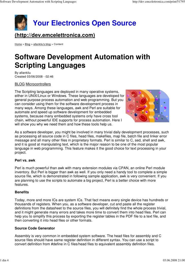 Software Development Automation with Scripting Languages                                 http://dev.emcelettronica.com/pri...
