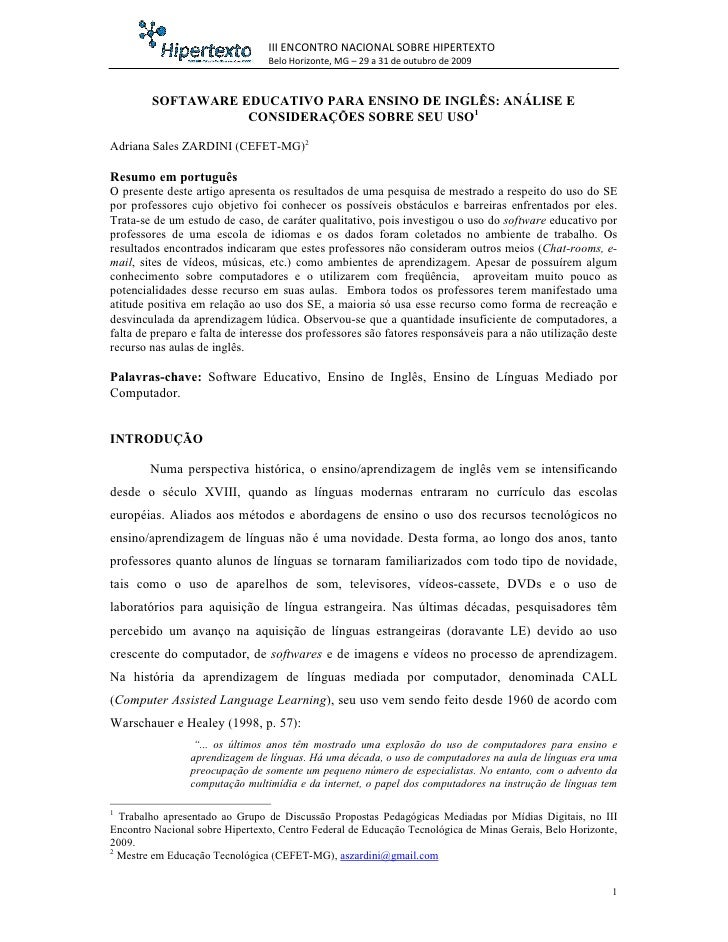 III ENCONTRO NACIONAL SOBRE HIPERTEXTO                                  Belo Horizonte, MG – 29 a 31 de outubro de 2009   ...
