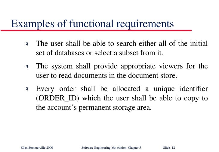 Software Requirements In Software Engineering SE - Functional requirements examples