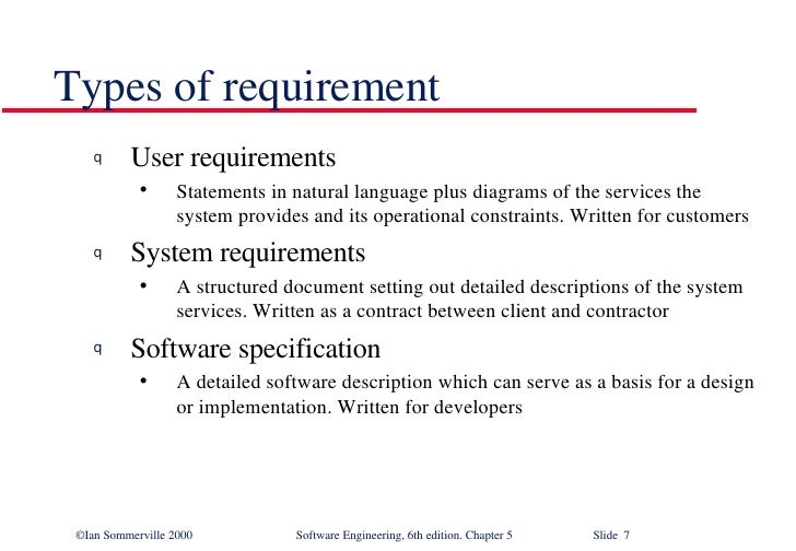 Software Requirements In Software Engineering SE - Software requirements