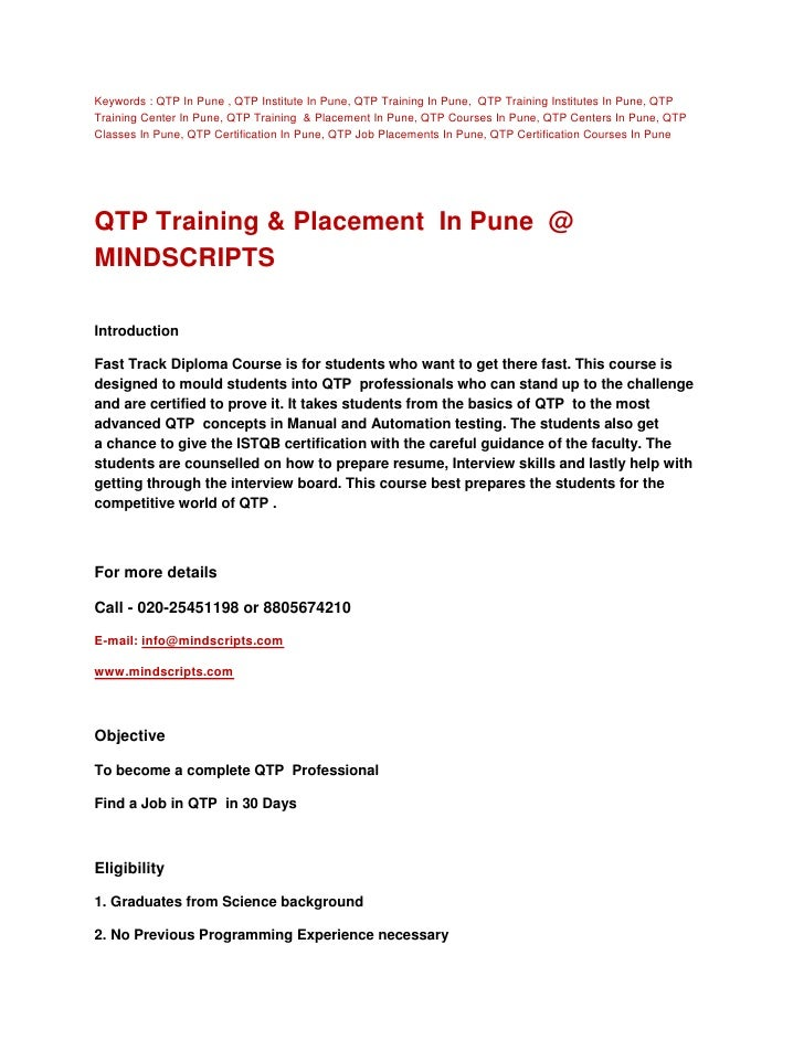 Keywords : QTP In Pune , QTP Institute In Pune, QTP Training In Pune, QTP Training Institutes In Pune, QTPTraining Center ...