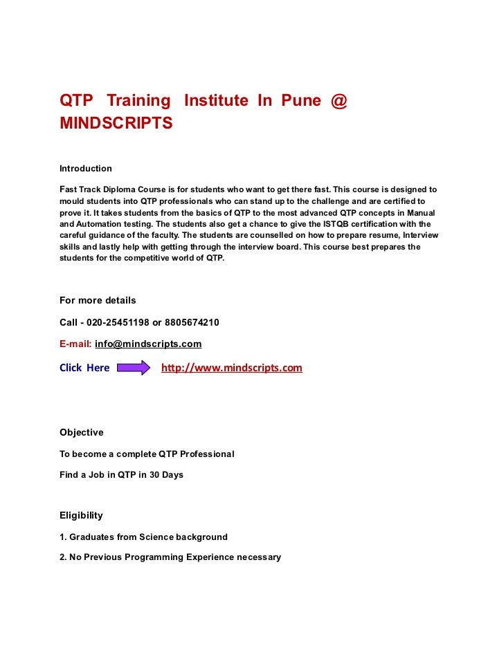 QTP Training Institute In Pune @MINDSCRIPTSIntroductionFast Track Diploma Course is for students who want to get there fas...