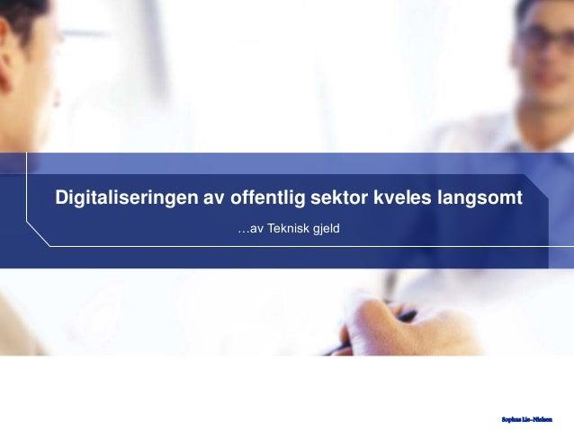 Sophus Lie-NielsenSophus Lie-Nielsen Digitaliseringen av offentlig sektor kveles langsomt …av Teknisk gjeld