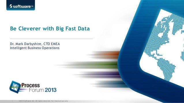 Be Cleverer with Big Fast Data Dr. Mark Darbyshire, CTO EMEA Intelligent Business Operations  |  ©2013 Software AG. All ri...