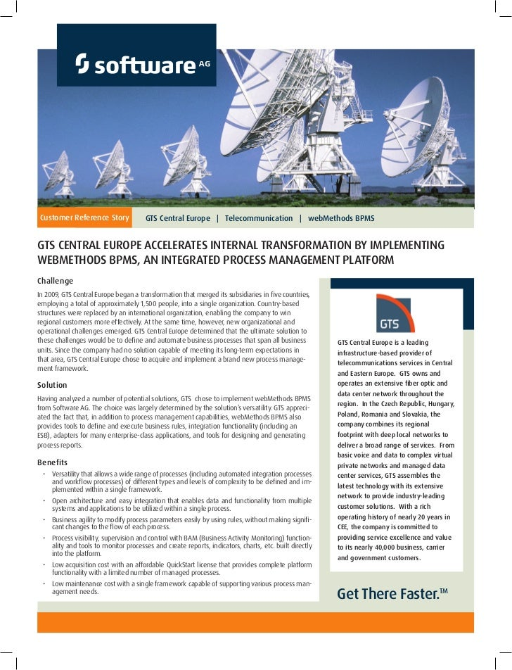 Customer Reference Story               GTS Central Europe   Telecommunication   webMethods BPMSGTS Central Europe Accelera...