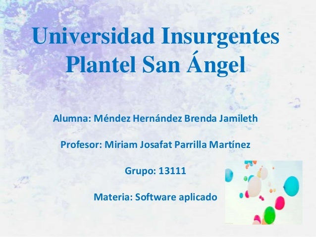 Universidad Insurgentes Plantel San Ángel Alumna: Méndez Hernández Brenda Jamileth Profesor: Miriam Josafat Parrilla Martí...