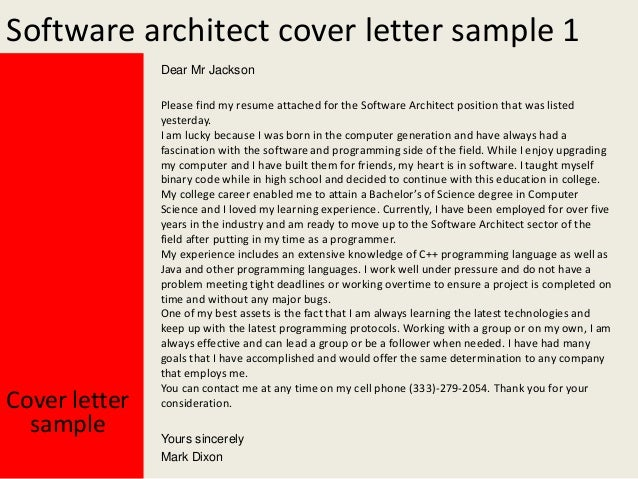 software architect cover letter sample - Sample Software Cover Letter