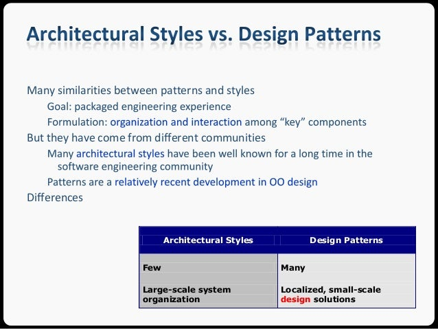 Architectural Styles Typically Determine Four Kinds Of Properties [AAG93]:  IMP; 7. Many Similarities Between Patterns ...