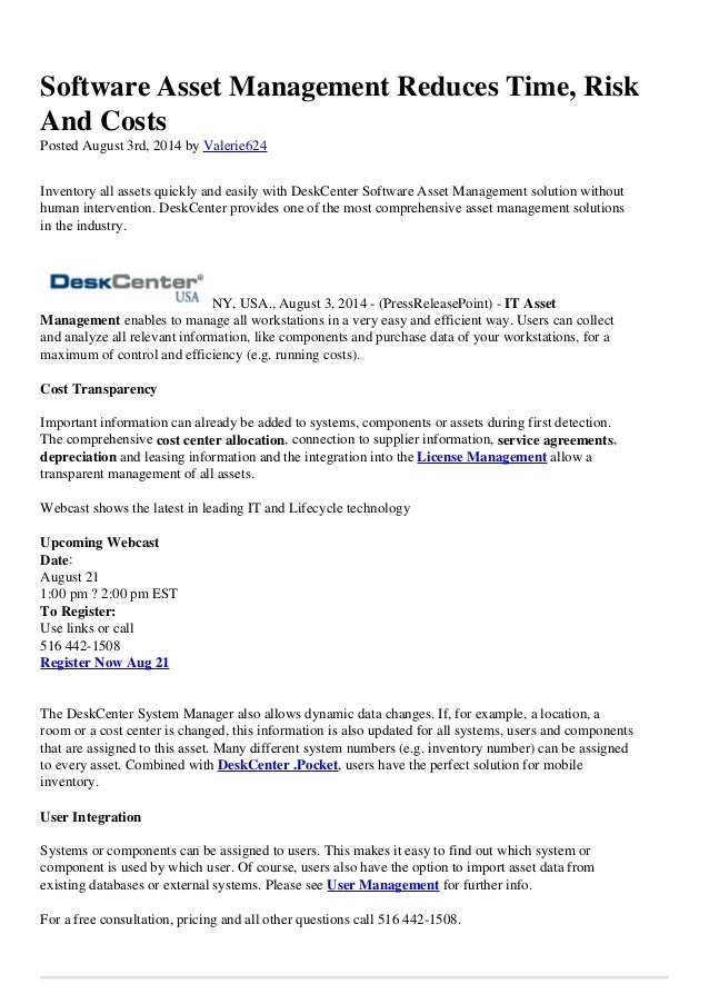 Software Asset Management Reduces Time, Risk And Costs Posted August 3rd, 2014 by Valerie624 Inventory all assets quickly ...