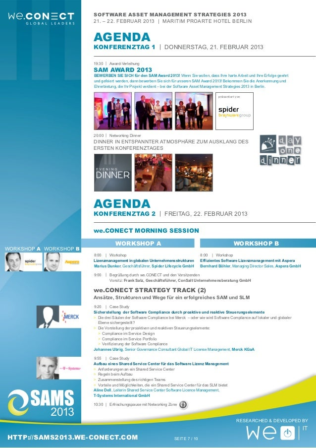 Software Asset Management Strategies 2013 - Agenda/Programm