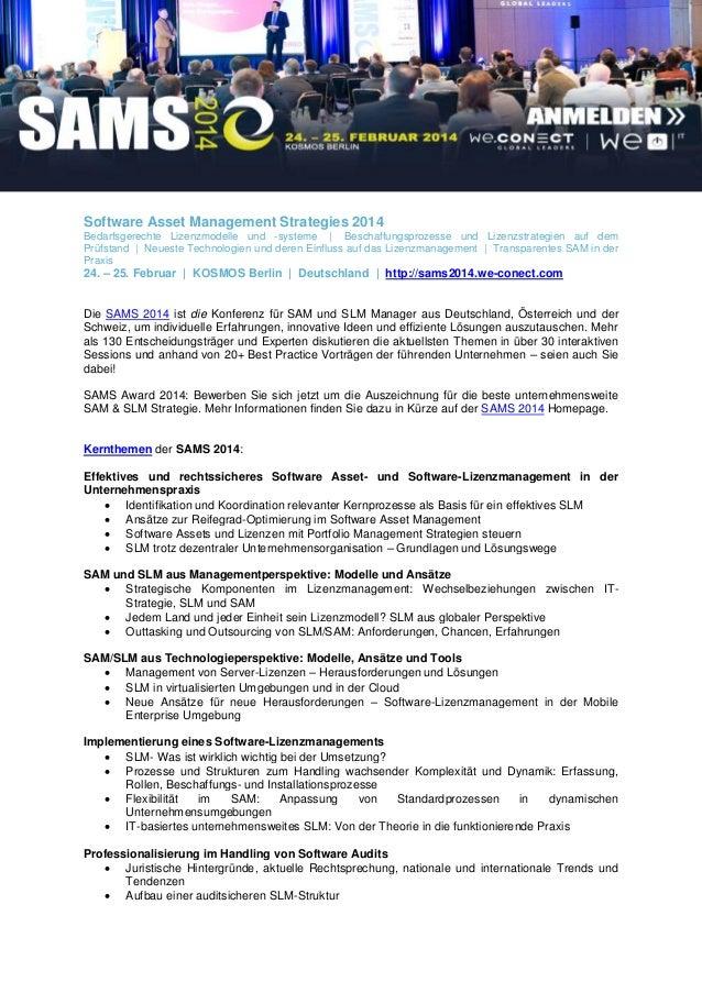 Software Asset Management Strategies 2014 Bedarfsgerechte Lizenzmodelle und -systeme | Beschaffungsprozesse und Lizenzstra...