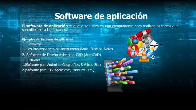 Software de aplicación El software de aplicación es el que se utiliza en una computadora para realizar las tareas que son ...