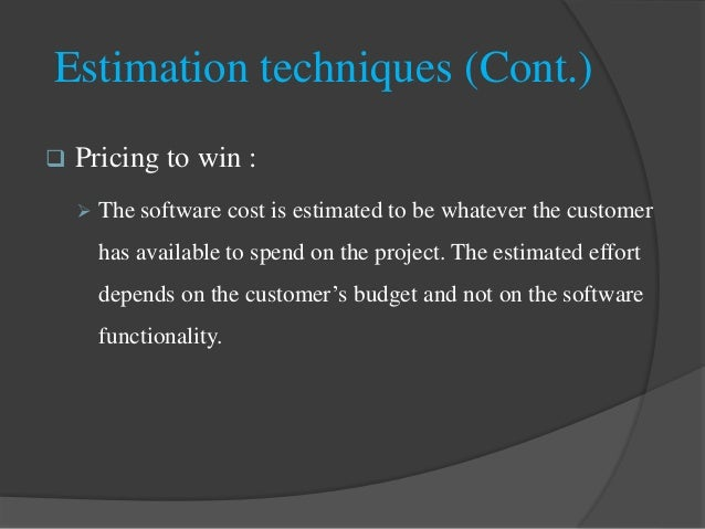 thesis on software cost estimation Project estimating software the conceptual cost estimator™ is a high level estimating system for new grassroots process plant construction projects such as refineries and various types of.