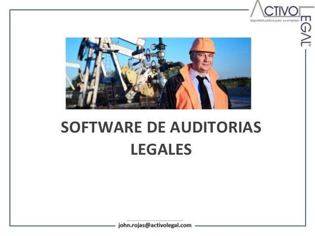 ACTUALIZACIÓN LEGAL EN SOFTWAREAMBIENTAL  MATERIA DE AUDITORIAS        LEGALES