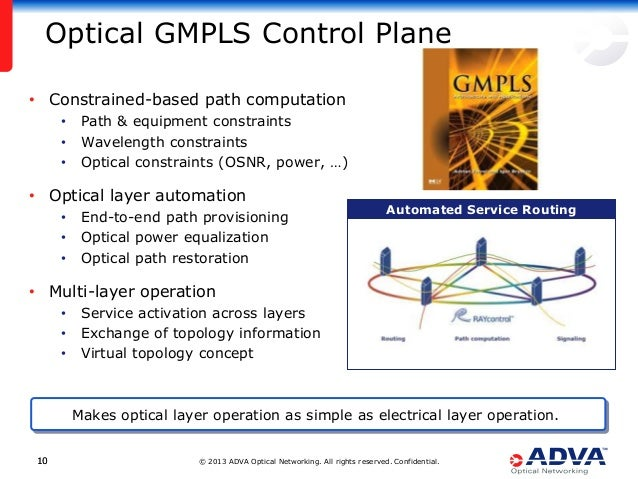 © 2013 ADVA Optical Networking. All rights reserved. Confidential.1010 • Constrained-based path computation • Path & equip...