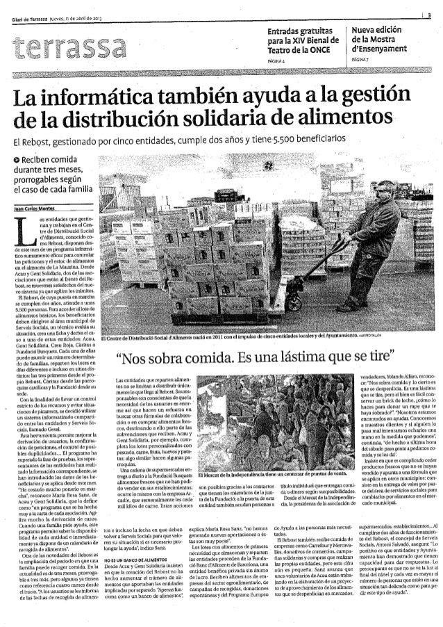 Software de gestió del Centre de Distribució Social d'Aliments Diari de terrassa 20130411