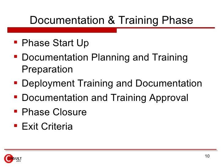 Documentation & Training Phase  Phase Start Up  Documentation Planning and Training   Preparation  Deployment Training ...