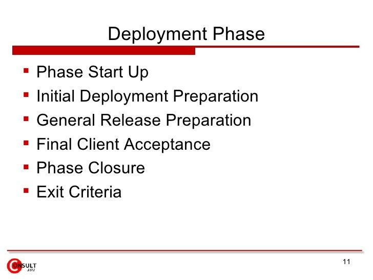 Deployment Phase    Phase Start Up    Initial Deployment Preparation    General Release Preparation    Final Client Ac...