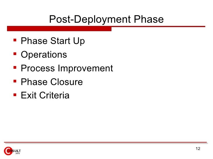 Post-Deployment Phase    Phase Start Up    Operations    Process Improvement    Phase Closure    Exit Criteria       ...
