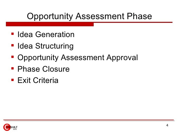 Opportunity Assessment Phase    Idea Generation    Idea Structuring    Opportunity Assessment Approval    Phase Closur...