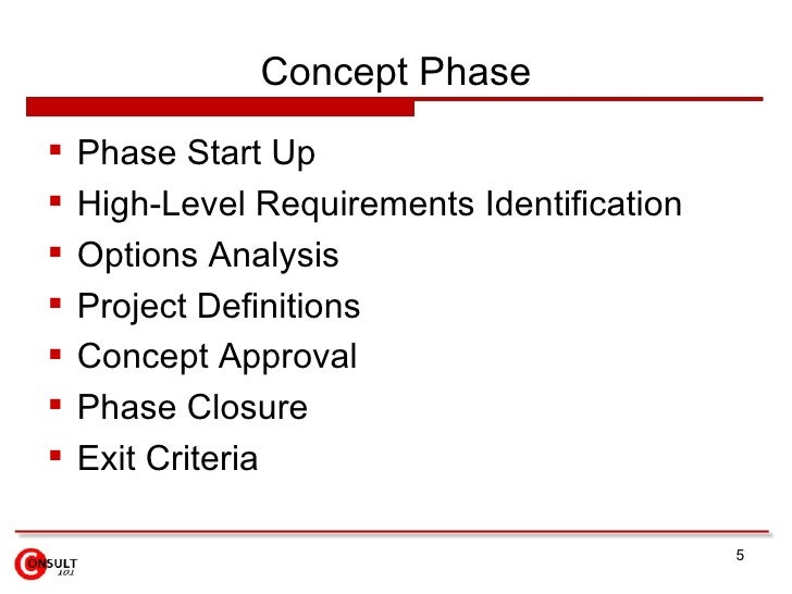 Concept Phase    Phase Start Up    High-Level Requirements Identification    Options Analysis    Project Definitions ...