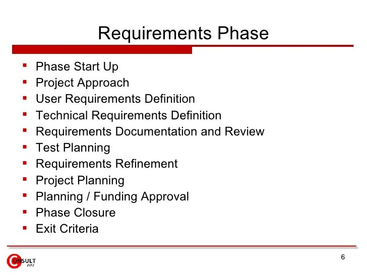 Requirements Phase    Phase Start Up    Project Approach    User Requirements Definition    Technical Requirements Def...