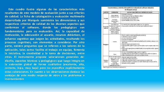 Este cuadro ilustra algunas de las características más resaltantes de este modelo de evaluación junto a sus criterios de c...