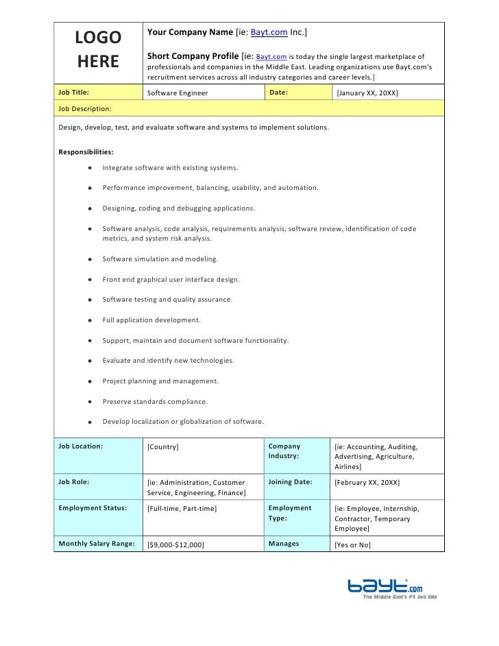 Software Engineer Job Description Template by Bayt.com