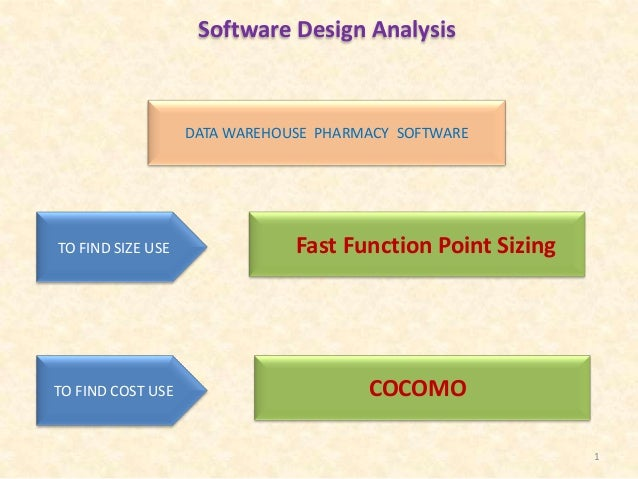 Software Design Analysis  DATA WAREHOUSE PHARMACY SOFTWARE  TO FIND SIZE USE  TO FIND COST USE  Fast Function Point Sizing...