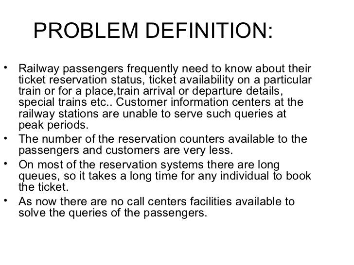 <ul><li>Railway passengers frequently need to know about their ticket reservation status, ticket availability on a particu...
