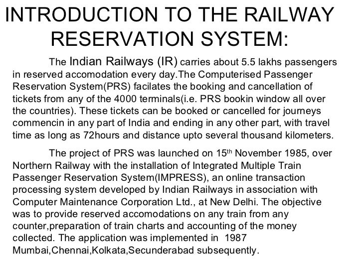 main objective of railway reservation ystem