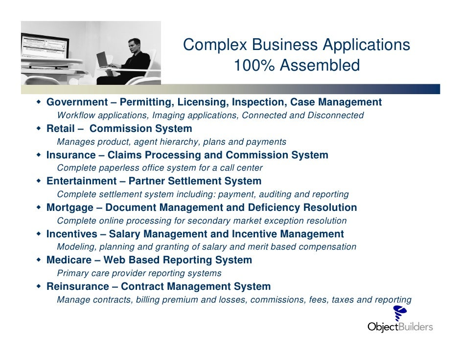Complex Business Applications                                     100% Assembled  Government – Permitting, Licensing, Insp...